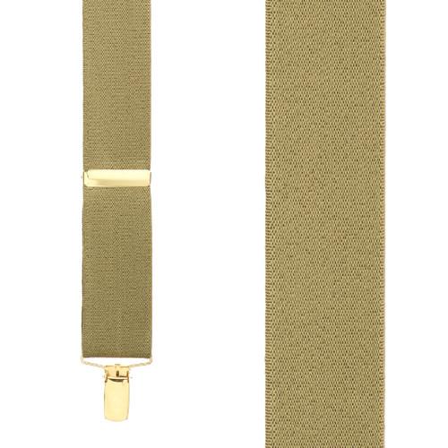 1.5 Inch Wide Brass Clip Suspenders - TAN