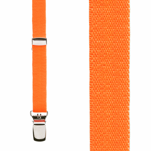 1/2 Inch Wide Skinny Suspenders - NEON ORANGE