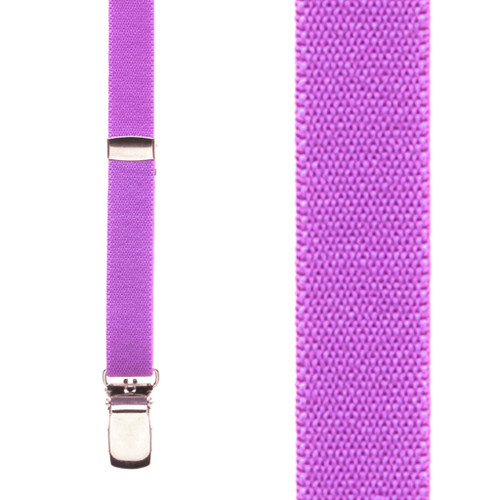 1/2 Inch Wide Skinny Suspenders - NEON PURPLE