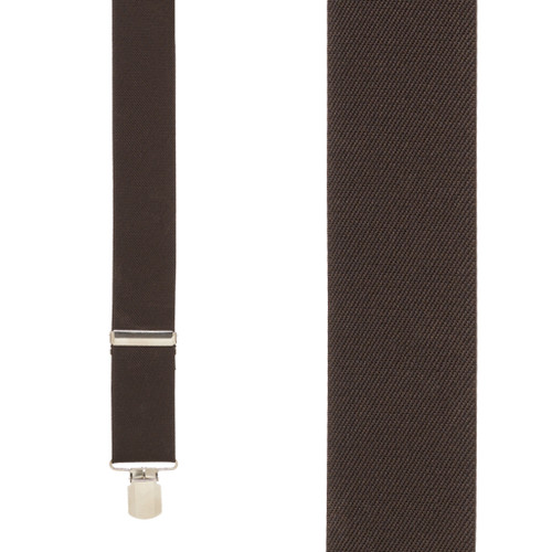 1.5 Inch Wide Pin Clip Suspenders - BROWN