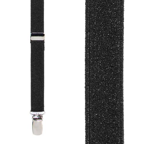 Black Glitter Suspenders - 1 Inch Wide Clip