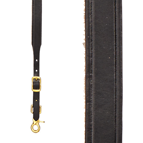 Plain Tooled 1 Inch Wide Western Leather Suspenders - BLACK