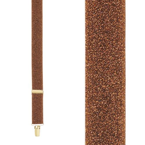 Copper Glitter Suspenders - 1 Inch Wide