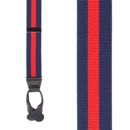 Navy/Red Striped Button Suspenders - 1.5 Inch Wide