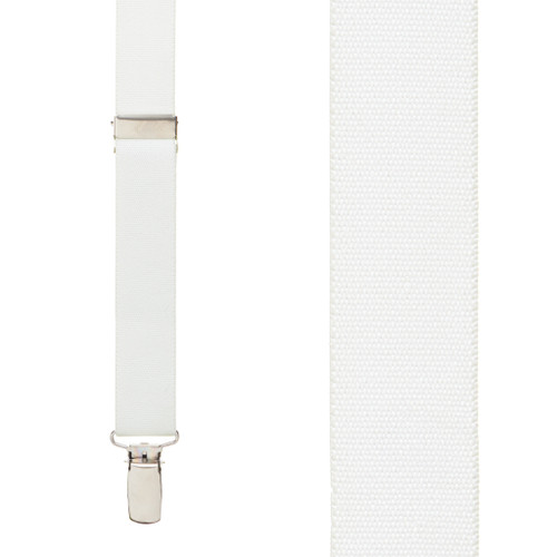 1 Inch Wide Clip Suspenders (Y-Back) - WHITE