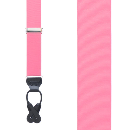Pink Grosgrain BUTTON Suspenders