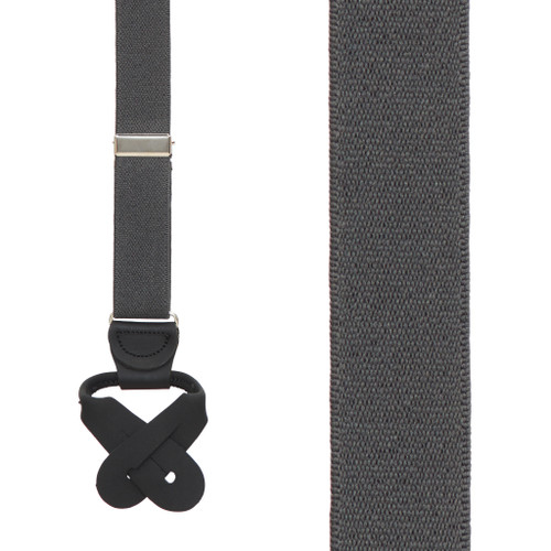 1 Inch Wide Button Suspenders - DARK GREY