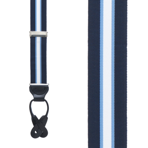 Navy/Steel Grosgrain Striped BUTTON Suspenders