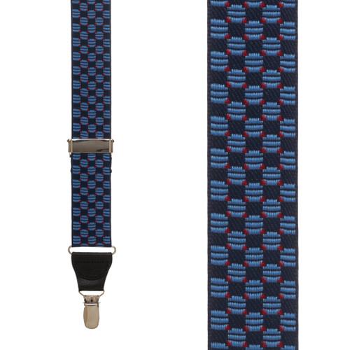 Navy Jacquard Tacoma Suspenders - Drop Clip
