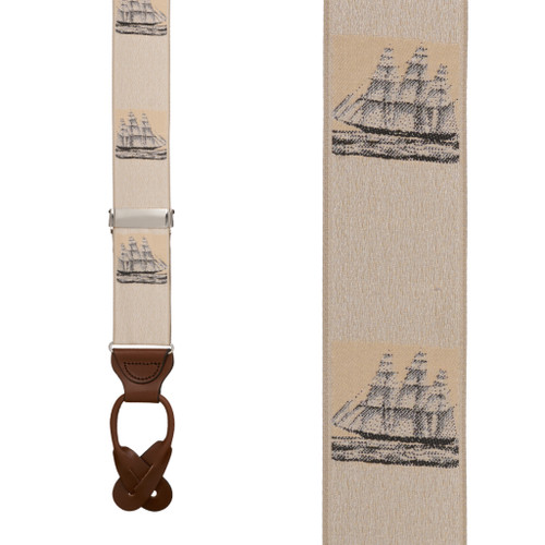 Vintage Ribbon Prior Sail Suspenders - BUTTON