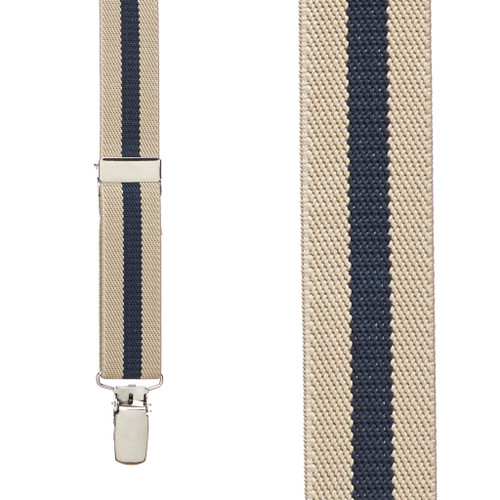 Khaki/Navy Striped Clip Suspenders - 1 Inch Wide