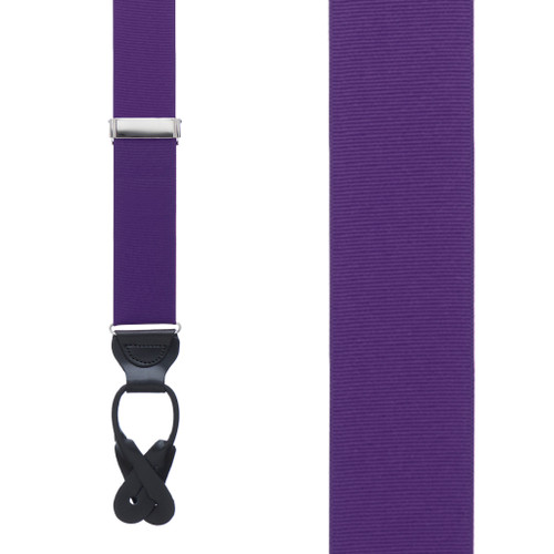 Dark Purple Grosgrain BUTTON Suspenders