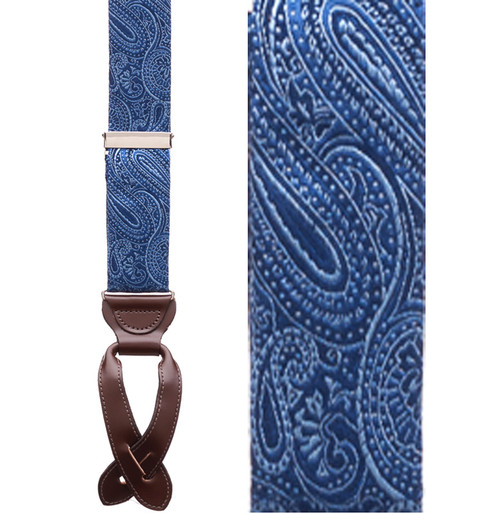 Navy Blue Paisley Silk Suspenders - Button