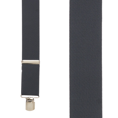 2 Inch Wide Pin Clip Suspenders - DARK GREY