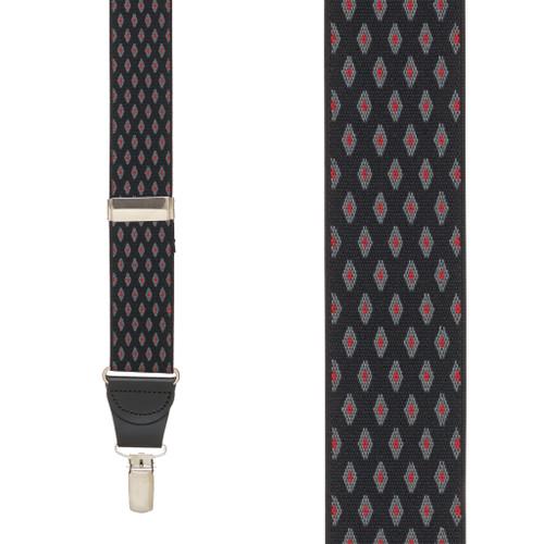 BLACK Jacquard Diamond Burst Checkered Suspenders - Clip