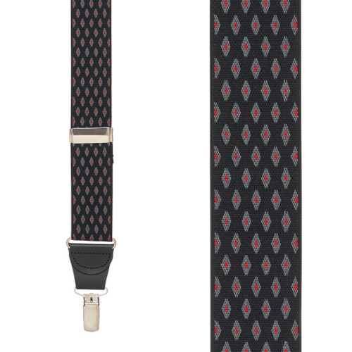 BLACK Jacquard Diamond Burst Checkered Suspenders - Clip