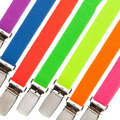 1/2 Inch Wide Skinny Neon Suspenders