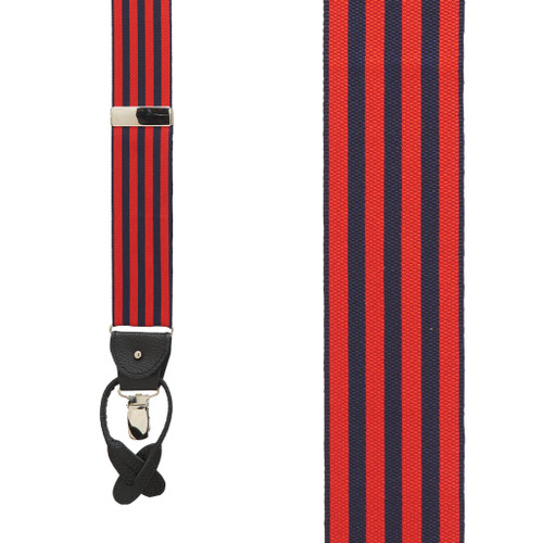 Red/Navy Equal Stripes Barathea Suspenders