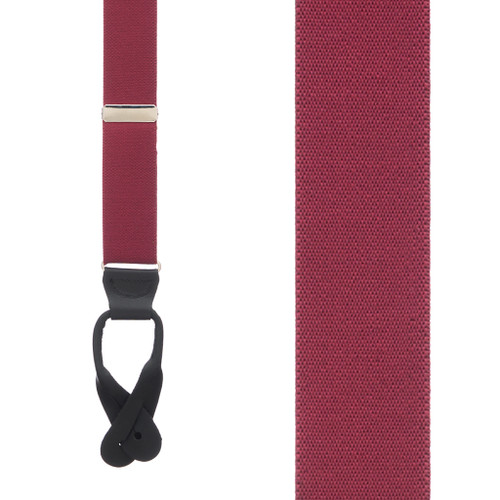 1.5 Inch Wide Button Suspenders - BURGUNDY