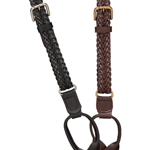 Herringbone Braided Leather Suspenders - 3/4 Inch Wide Button