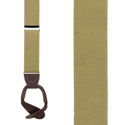 1.25 Inch Wide Button Suspenders - TAN
