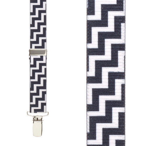 Black & White Zig Zag Suspenders - 1 Inch Y-Back