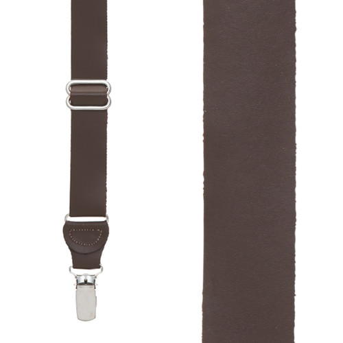 All Leather Clip Suspenders - BROWN