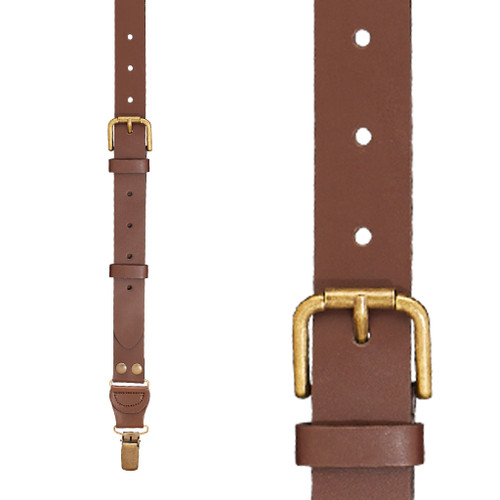 Buckle Strap 1 Inch Wide Leather Clip Suspenders - BROWN