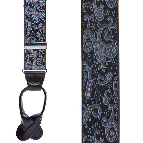 Black Paisley Suspenders - Button