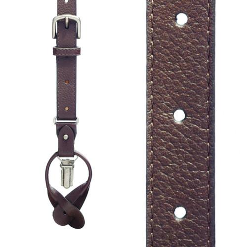 Dressy Leather Convertible Suspenders - DARK BROWN