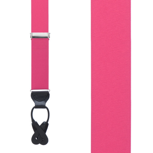 Dark Pink Grosgrain BUTTON Suspenders