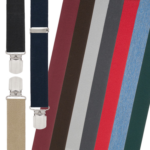 1.5 Inch Wide Solid Pin Clip Suspenders