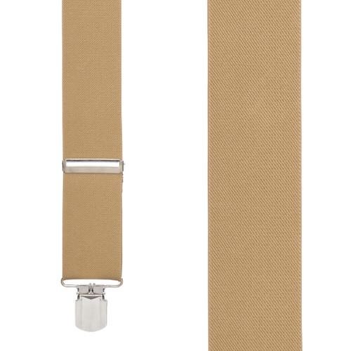 2 Inch Wide Pin Clip Suspenders - TAN