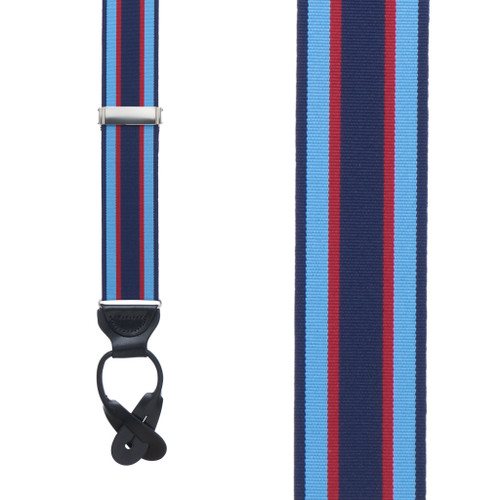 Navy/Sky/Red Grosgrain Striped BUTTON Suspenders