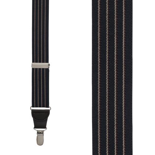 NAVY Pinstripe Elastic Suspenders - Clip