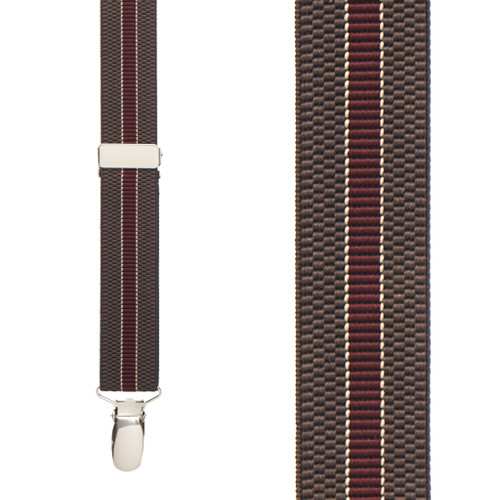 BROWN/BURGUNDY Striped Suspenders - 1 Inch Wide