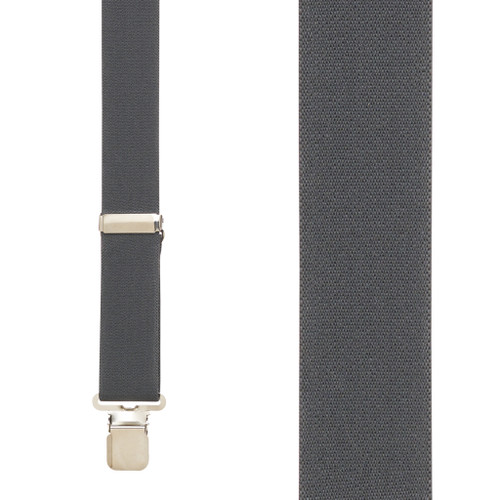 1.5 Inch Wide Construction Clip Suspenders - DARK GREY