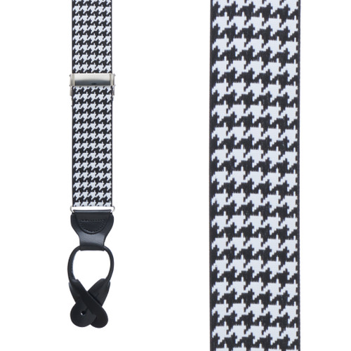 Grosgrain Houndstooth Suspenders - Button