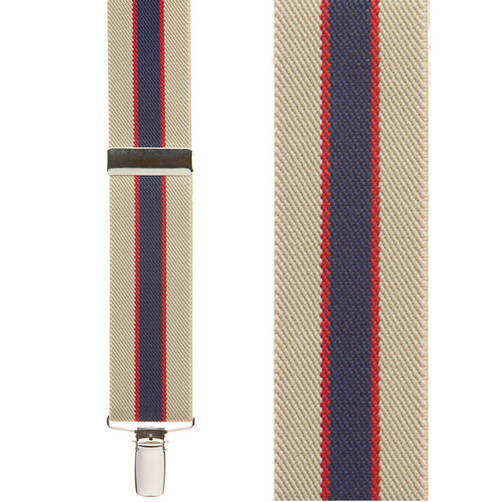 Khaki/Navy Striped Clip Suspenders - 1.5 Inch Wide