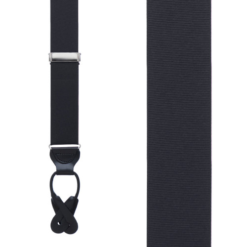 Black Grosgrain BUTTON Suspenders