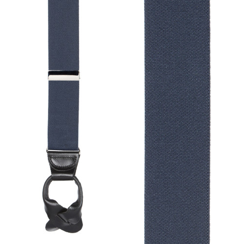 1.5 Inch Wide Button Suspenders - NAVY BLUE