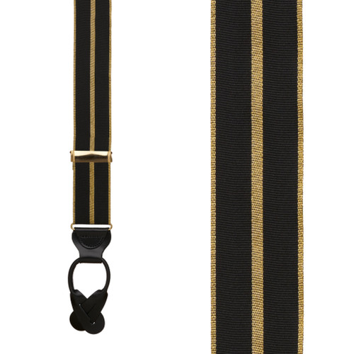 Black & Gold Striped Grosgrain Suspenders - BUTTON