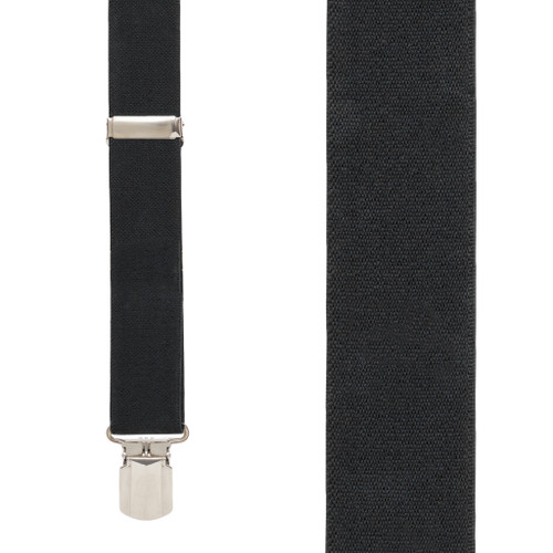 1.5 Inch Wide Pin Clip Suspenders - BLACK