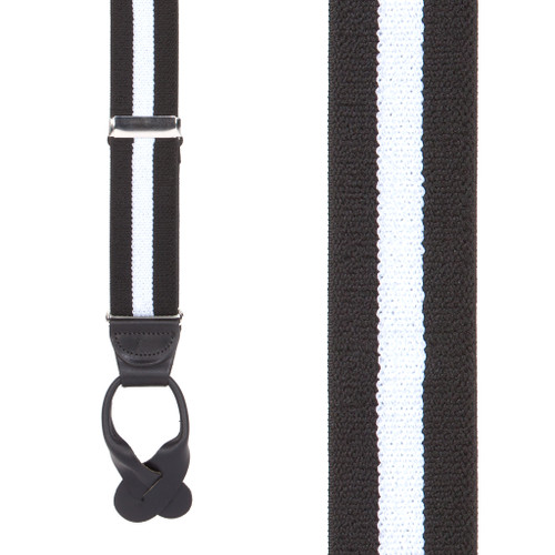 Black/White Striped Button Suspenders - 1.5 Inch Wide