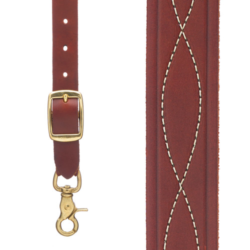 Chain Stitched Handcrafted Western Leather Suspenders - BROWN