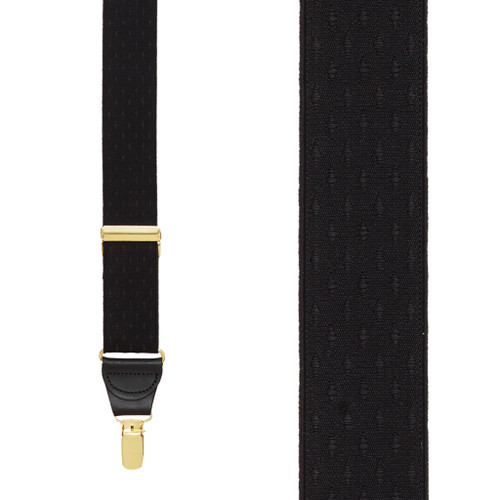 Black Jacquard Suspenders - Petite Diamonds Clip