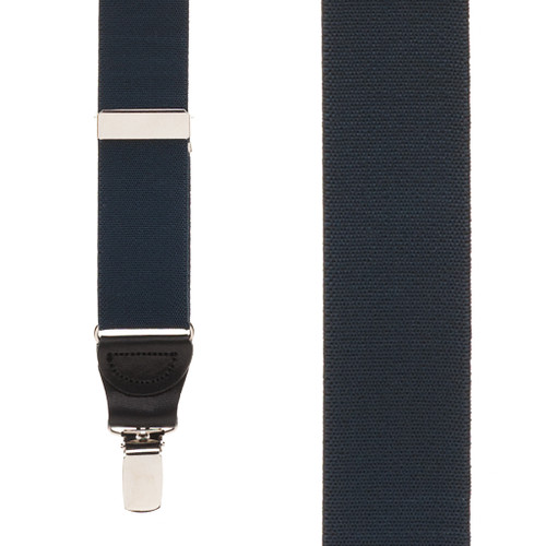 1.25 Inch Wide Y-Back Clip Suspenders - NAVY BLUE (Black Leather)
