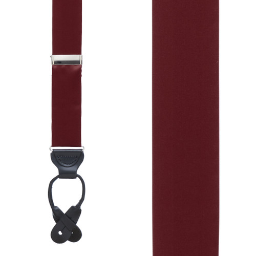 BURGUNDY Bangkok Silk Suspenders - Button