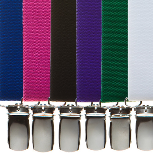 1 Inch Wide Clip Suspenders (X-Back) - Solid Colors