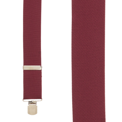 2 Inch Wide Pin Clip Suspenders - BURGUNDY